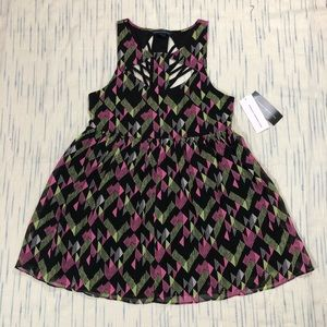 French Connection Pink Woven Party Cut Out Dress